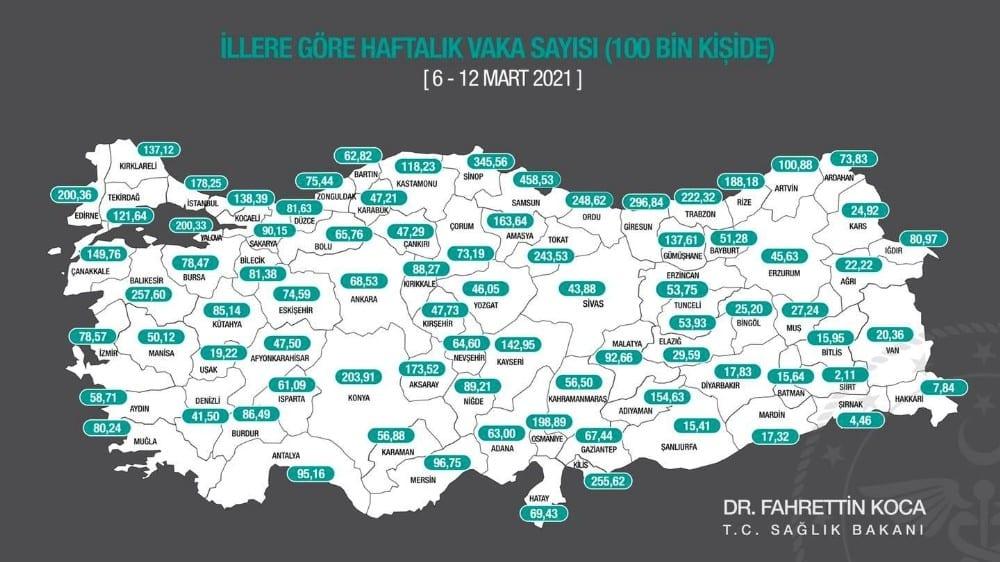 Antalya vaka sayısında kırmızı bölgeye dayandı